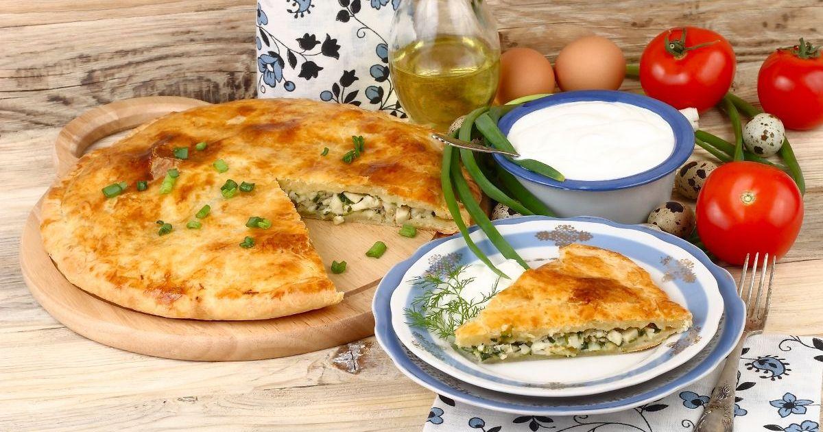 Фото Домашний пирог с зелёным луком и яйцом