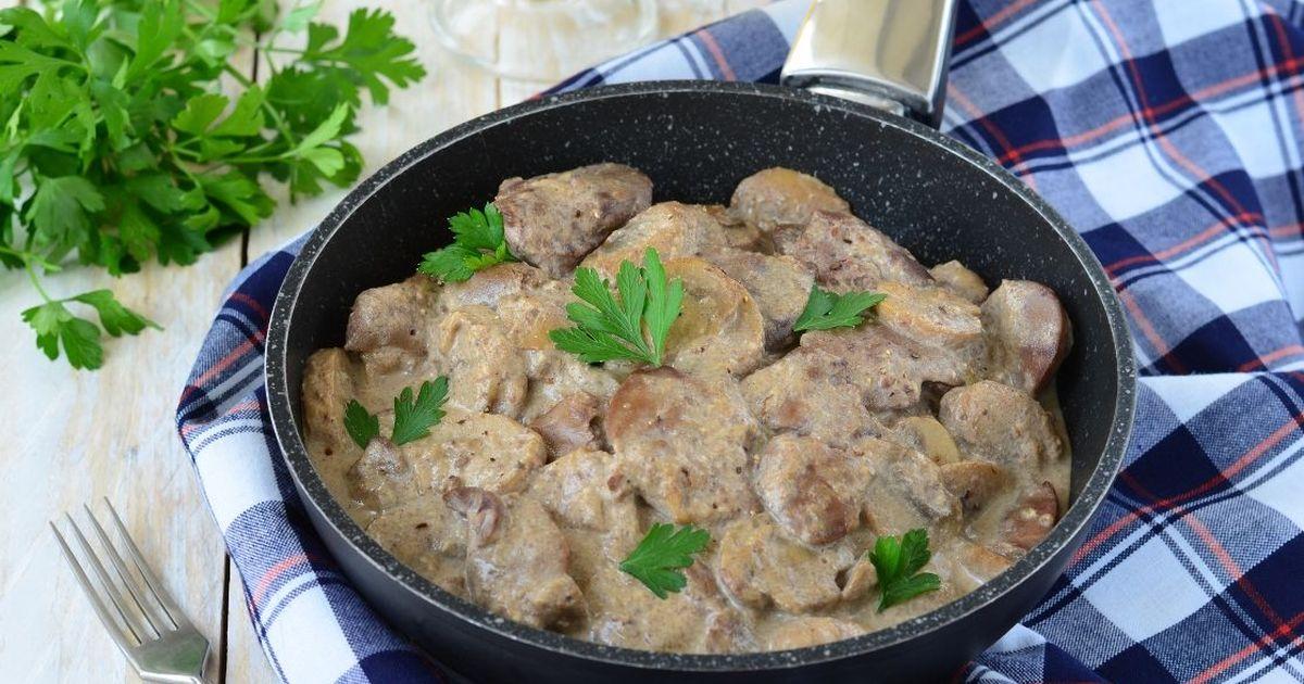 Фото Аппетитная куриная печень в кефирно-горчичном соусе