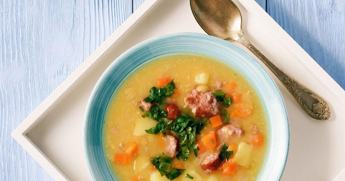 Фото Вкуснейший гороховый суп с копчёностями