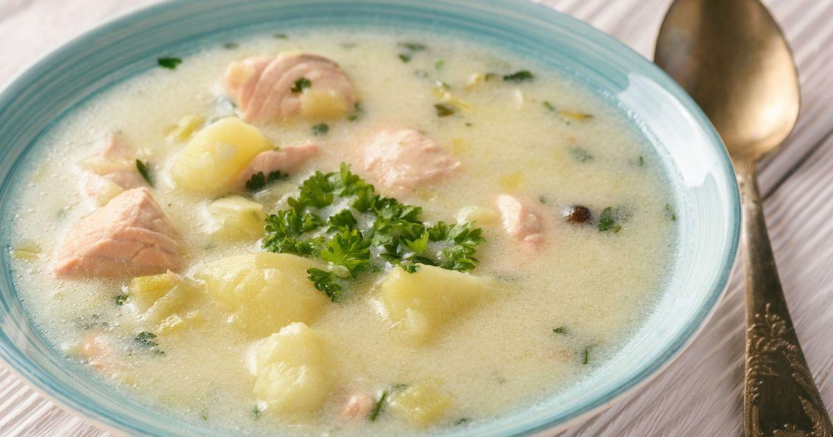 Фото Картофельный суп с лососем