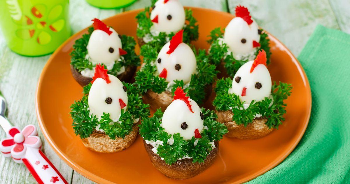 Фото Пасхальные цыплята из перепелиных яиц