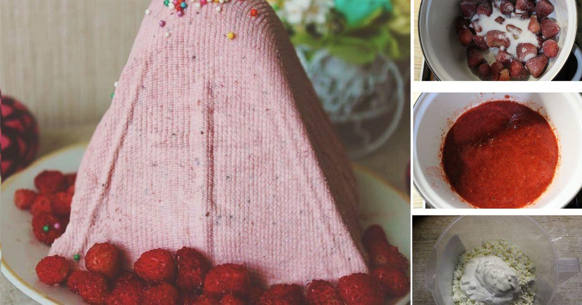 Фото Творожная пасха с клубникой: пошаговый фото рецепт