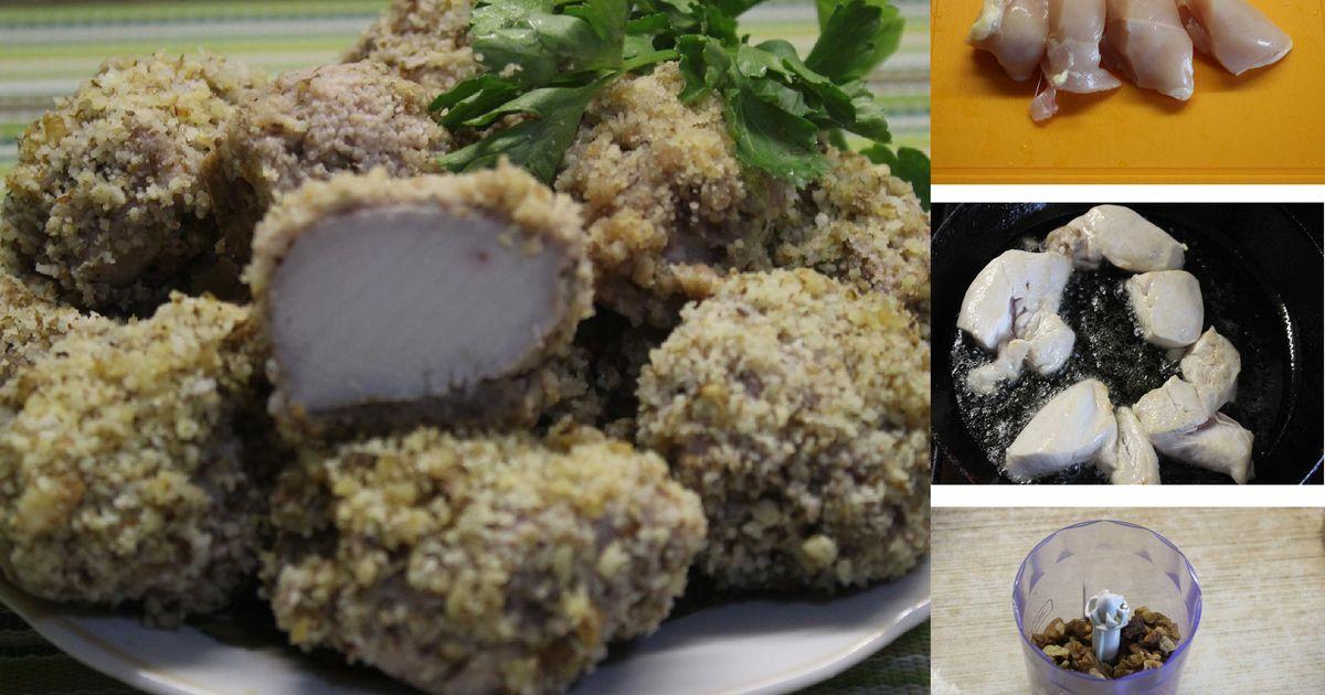 Фото Сочная куриная грудка в панировке из грецких орехов: пошаговый фото рецепт