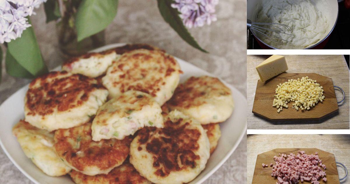 Фото Пышные манные оладушки с ветчиной и сыром: пошаговый фото рецепт