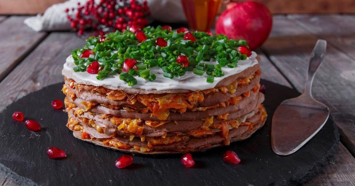 Фото Домашний печеночный торт