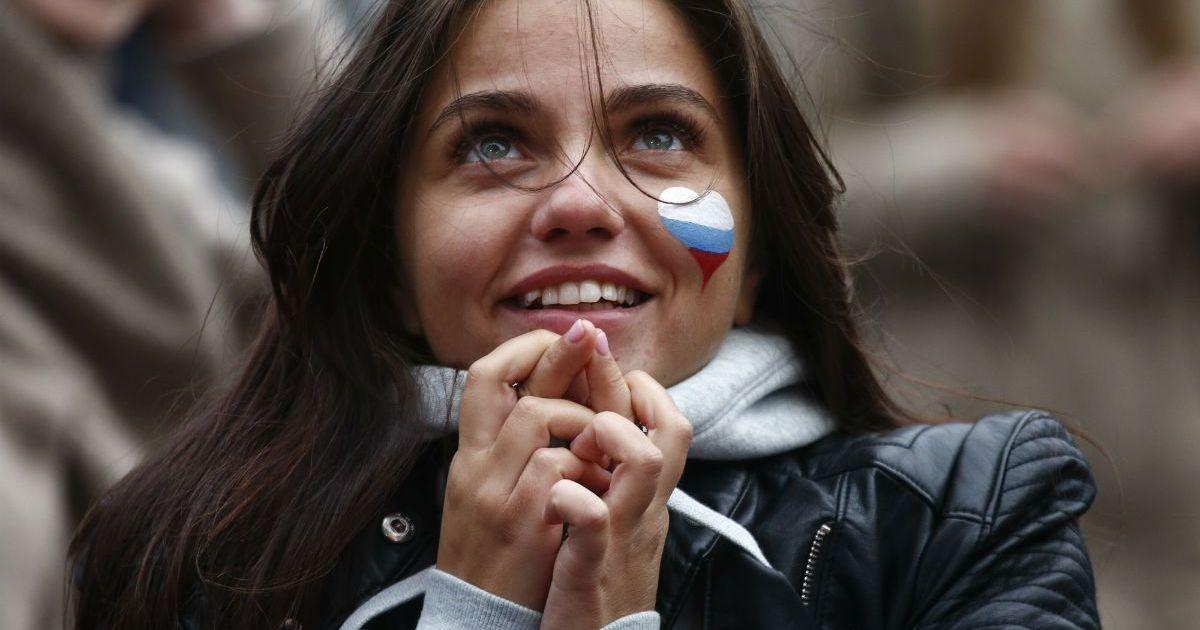 Фото Российские болельщики во время матча Россия-Испания (ФОТО)