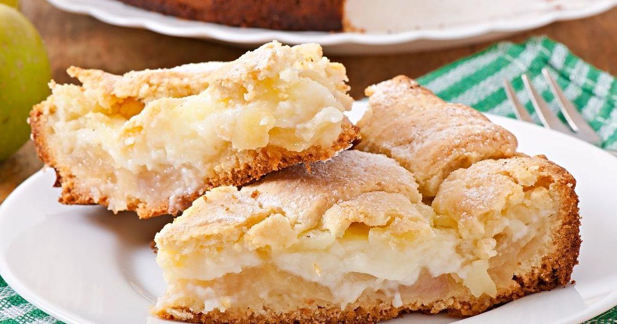 Фото Восхитительный яблочный пирог с заварным кремом