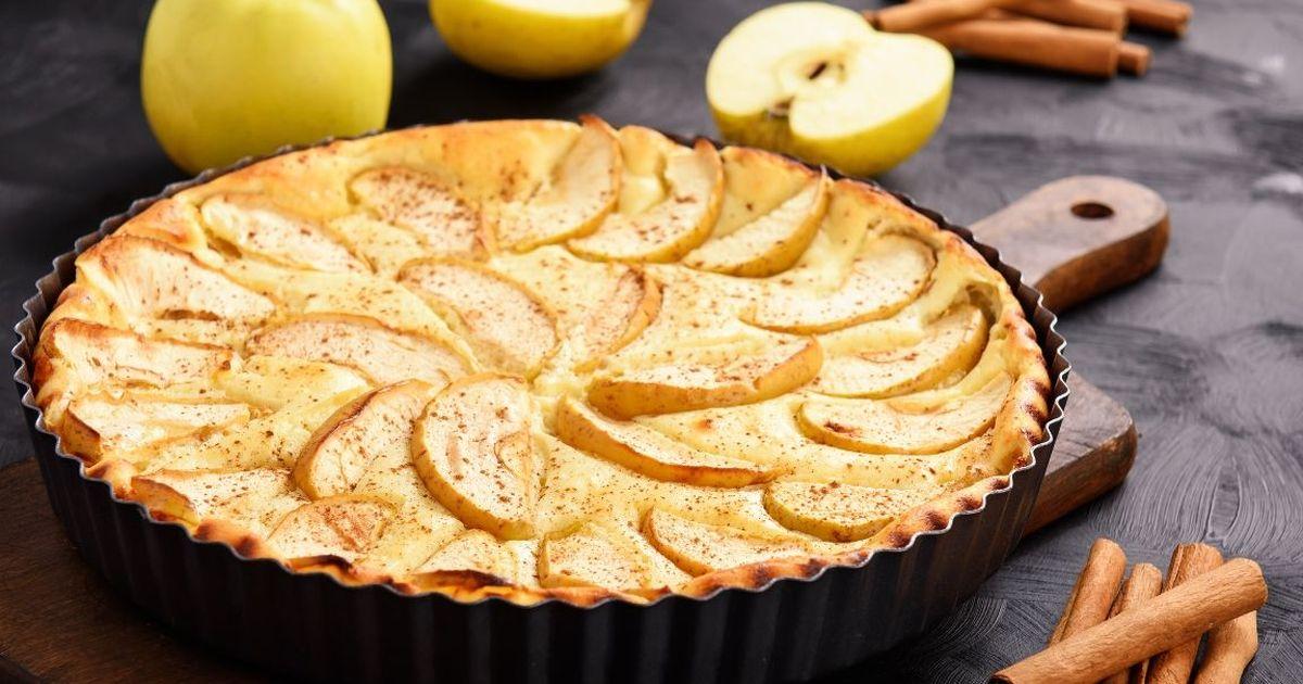 Фото Воздушный творожный пирог с яблоками