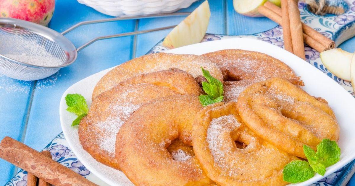 Фото Аппетитные яблочные кольца во фритюре
