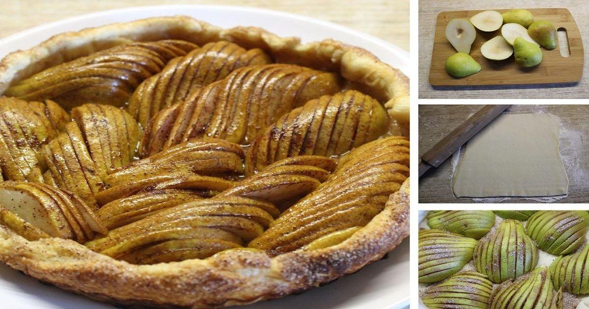 Фото Открытый грушевый пирог со специями на скорую руку: пошаговый фото рецепт