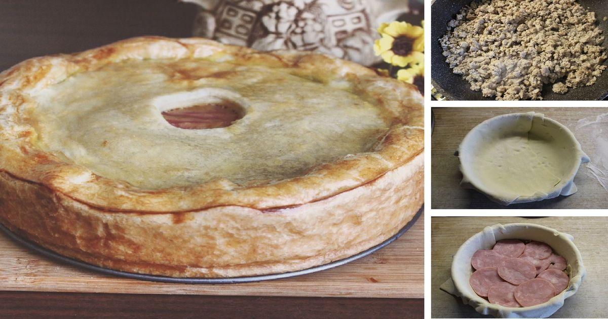 Фото Слоеный мясной пирог: пошаговый фото рецепт
