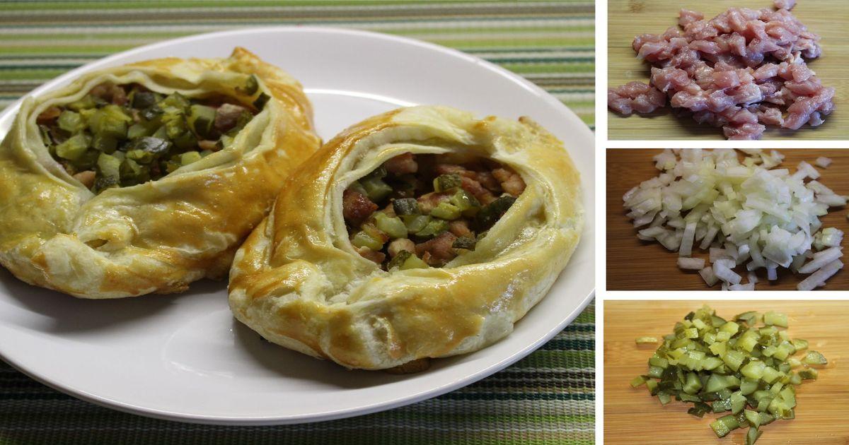 Фото Лодочки из слоеного теста с мясной начинкой: пошаговый фото рецепт