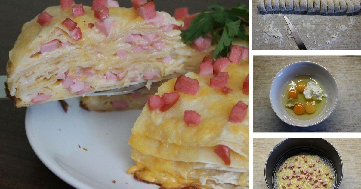 Фото Роскошный закусочный пирог с ветчиной и сыром: пошаговый фото рецепт