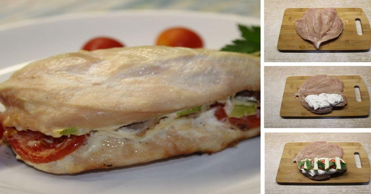 Фото Фаршированная куриная грудка, запеченная с овощами в духовке: пошаговый фото рецепт