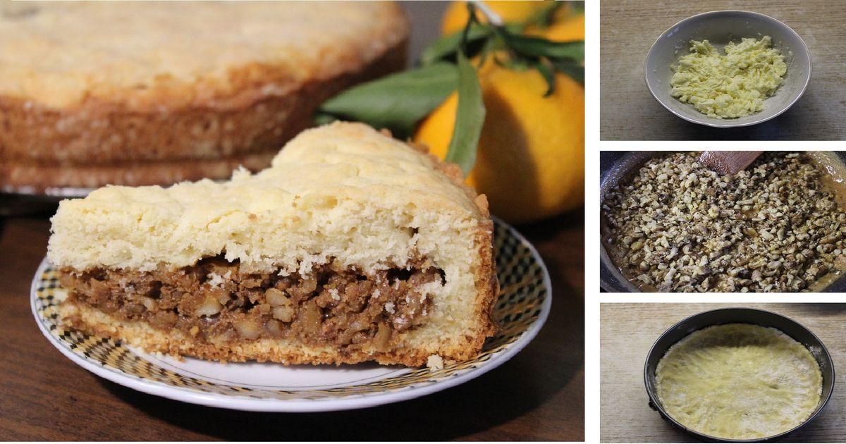 Фото Песочный пирог с орехами: пошаговый фото рецепт