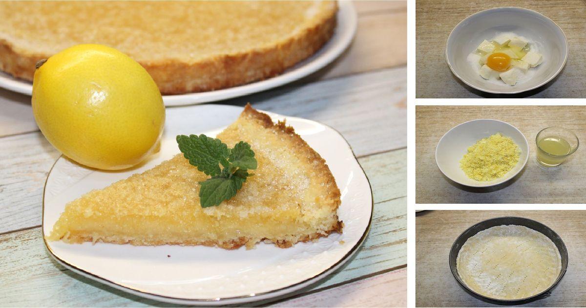 Фото Открытый лимонный пирог на песочном тесте: пошаговый фото рецепт