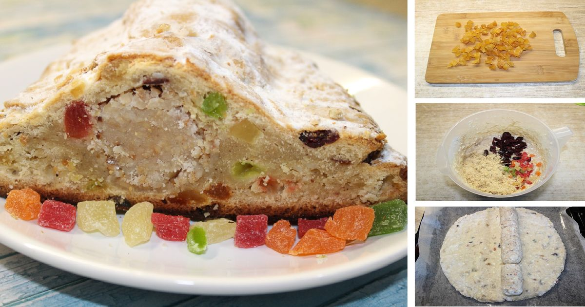 Фото Домашний штоллен с марципаном и цукатами - главное угощение новогодних праздников: пошаговые фото