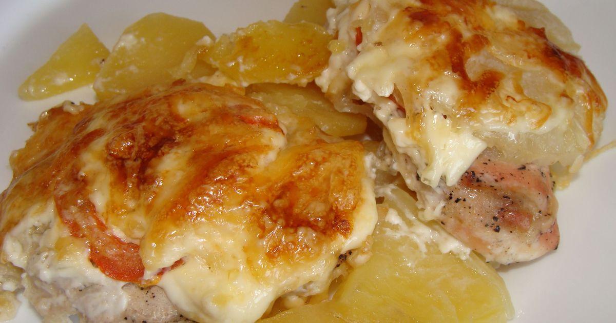 Фото Запеченная курица с картофелем и ананасами: пошаговые фото