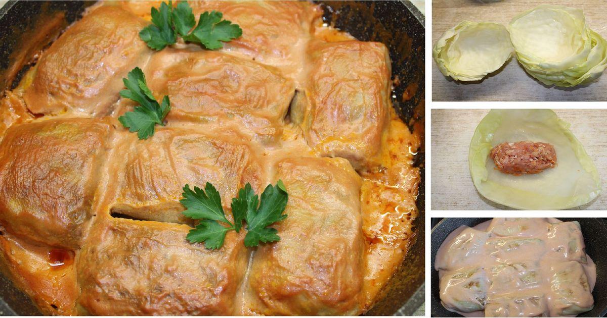 Фото Домашние голубцы в сливочно-томатном соусе: пошаговый фото рецепт