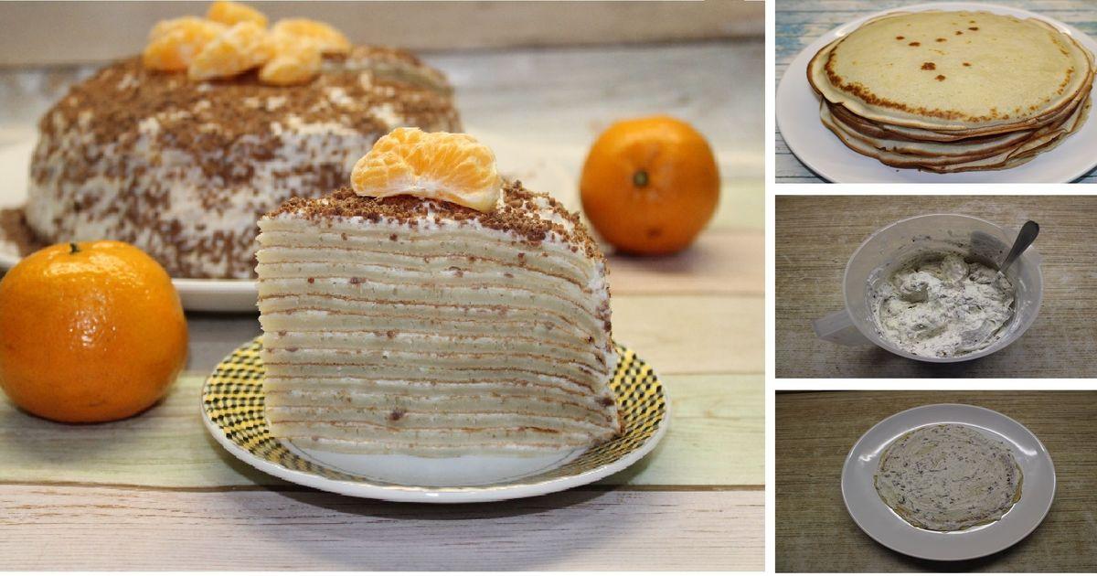 Фото Домашний блинный торт с творожным кремом и шоколадом: пошаговый фото рецепт