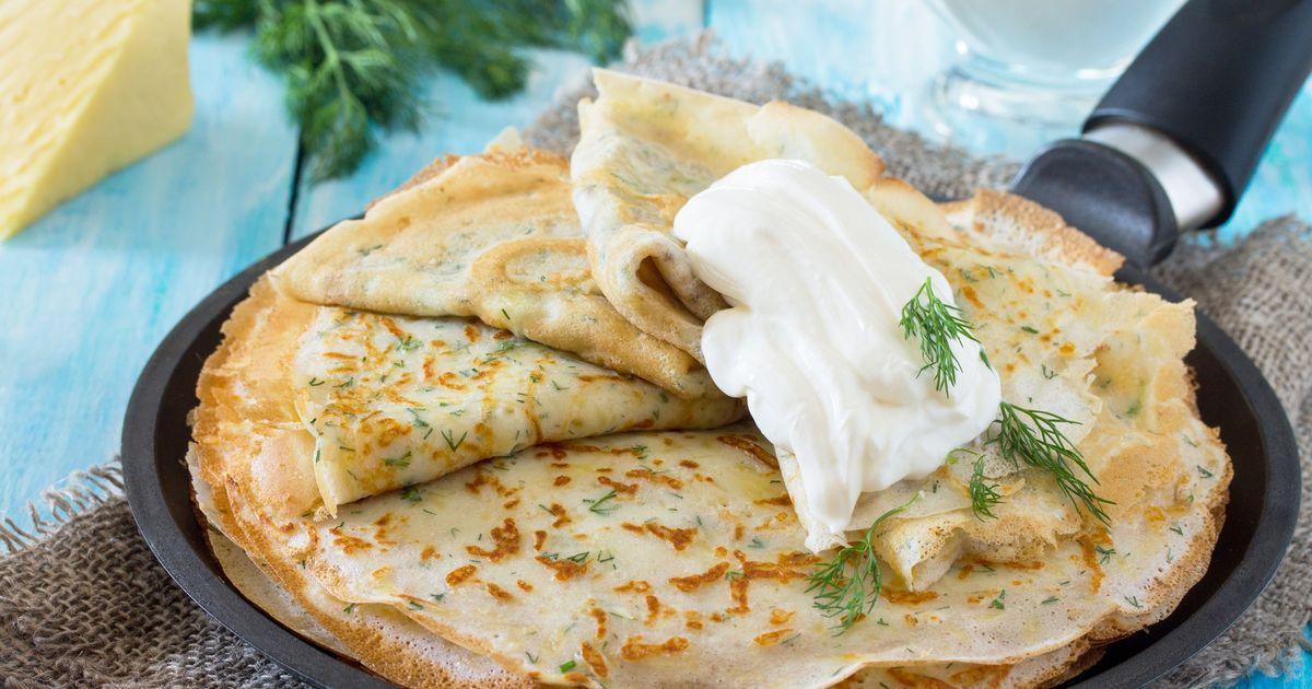 Фото Блины с сыром и зеленью