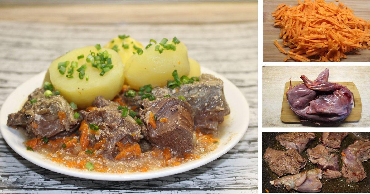 Фото Заяц, тушеный в сметане с овощами: пошаговый фото рецепт