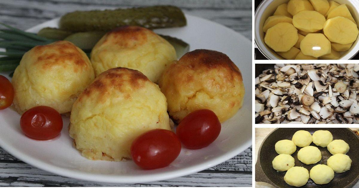 Фото Постные картофельные зразы с грибами: пошаговый фото рецепт