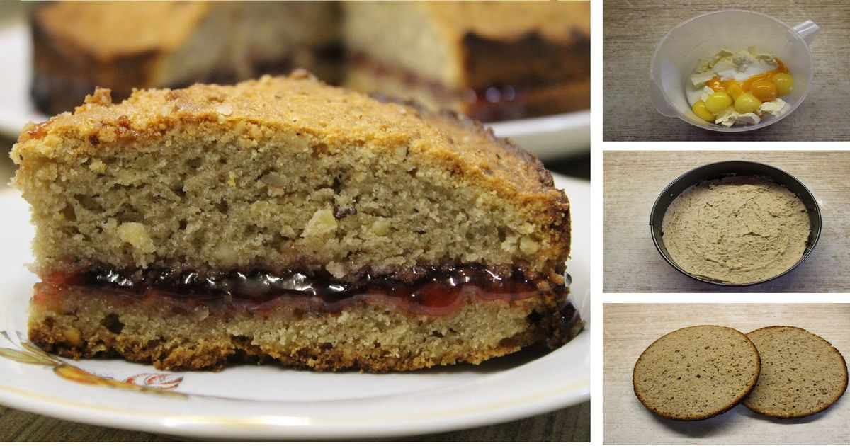Фото Гречневый пирог с клюквенным вареньем без пшеничной муки по немецкому рецепту: пошаговый фото рецепт