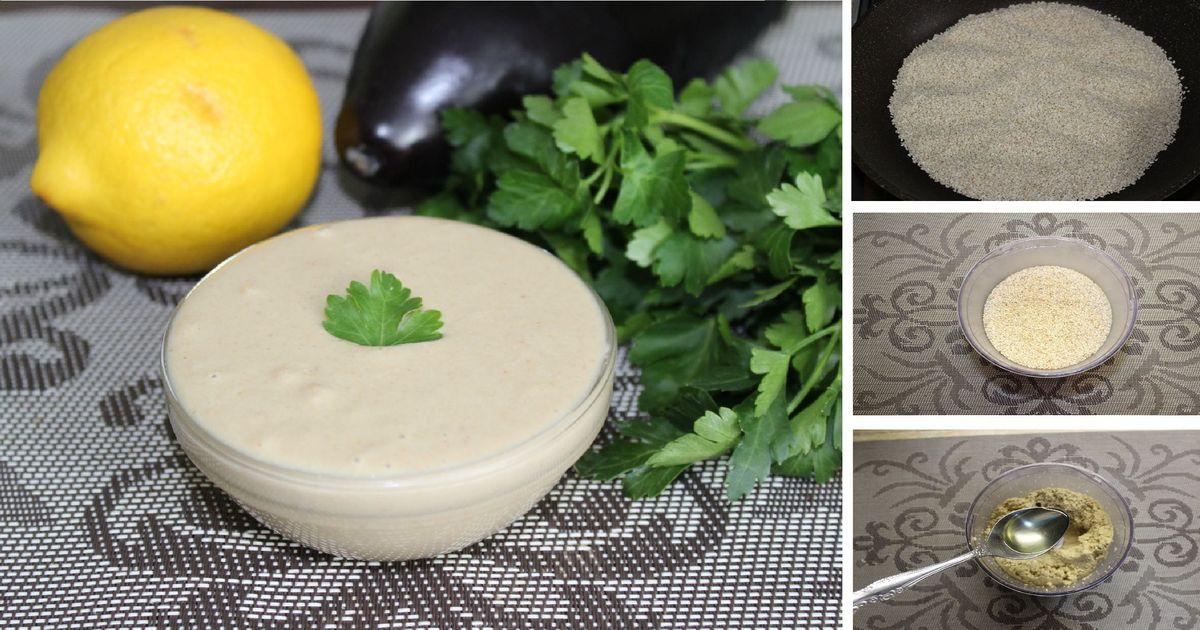 Фото Тахини (кунжутная паста) - восточная намазка на хлеб (постная): пошаговый фото рецепт