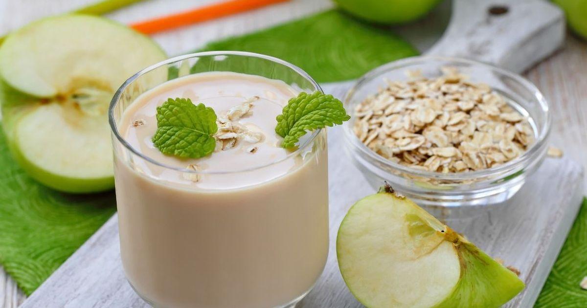 Фото Коктейль для похудения с корицей, яблоком и овсянкой