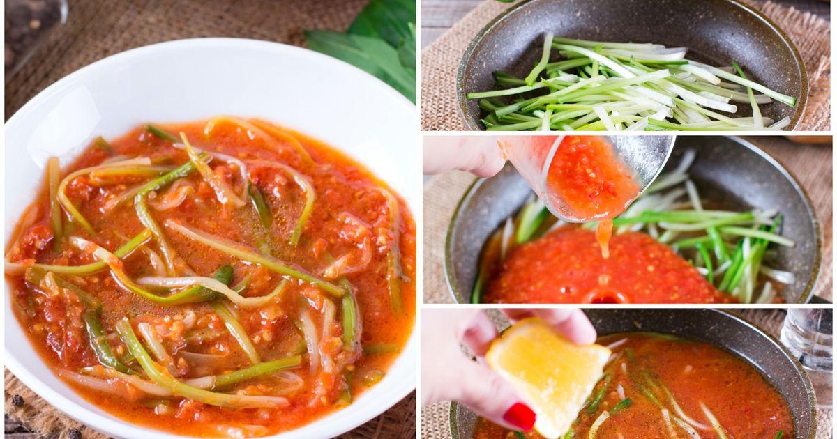 Фото Черемша в томатном соусе: пошаговый фото рецепт