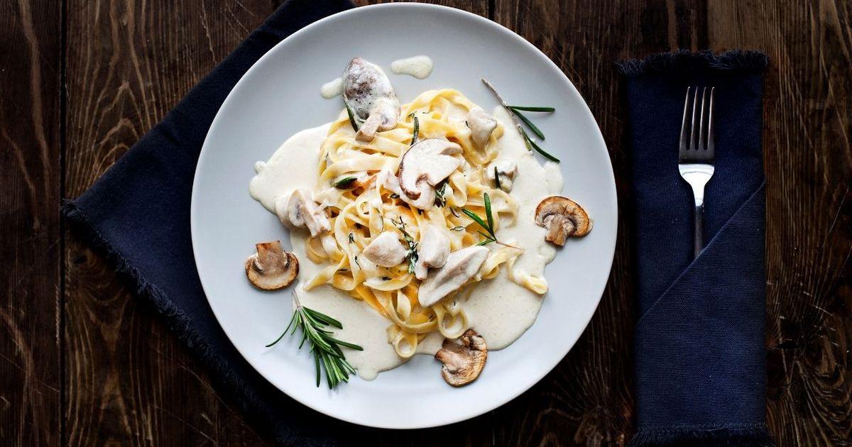 Фото Ароматная паста с грибами в сливочном соусе
