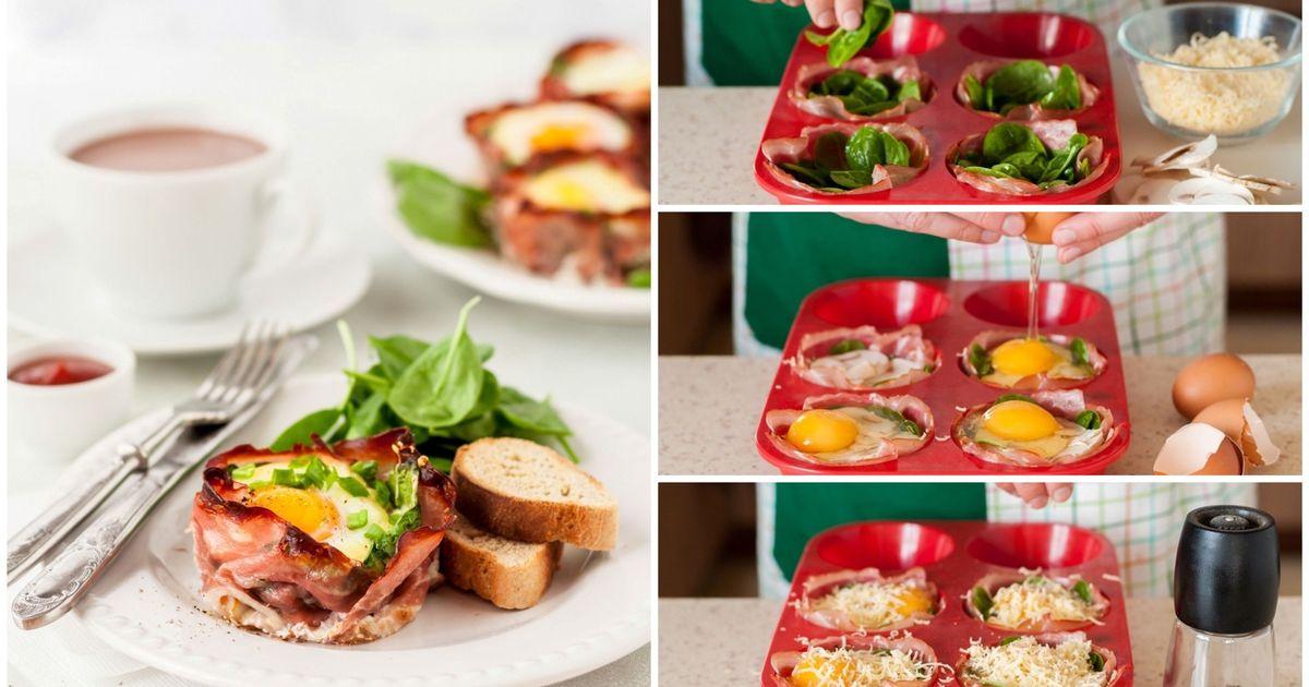 Фото Маффины с беконом и яйцом к завтраку: пошаговый фото рецепт