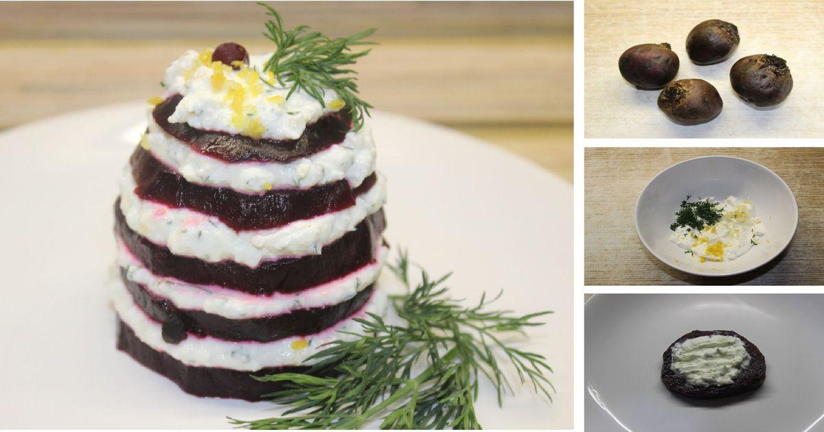 Фото Легкая закуска из свеклы с творожным сыром: пошаговый фото рецепт