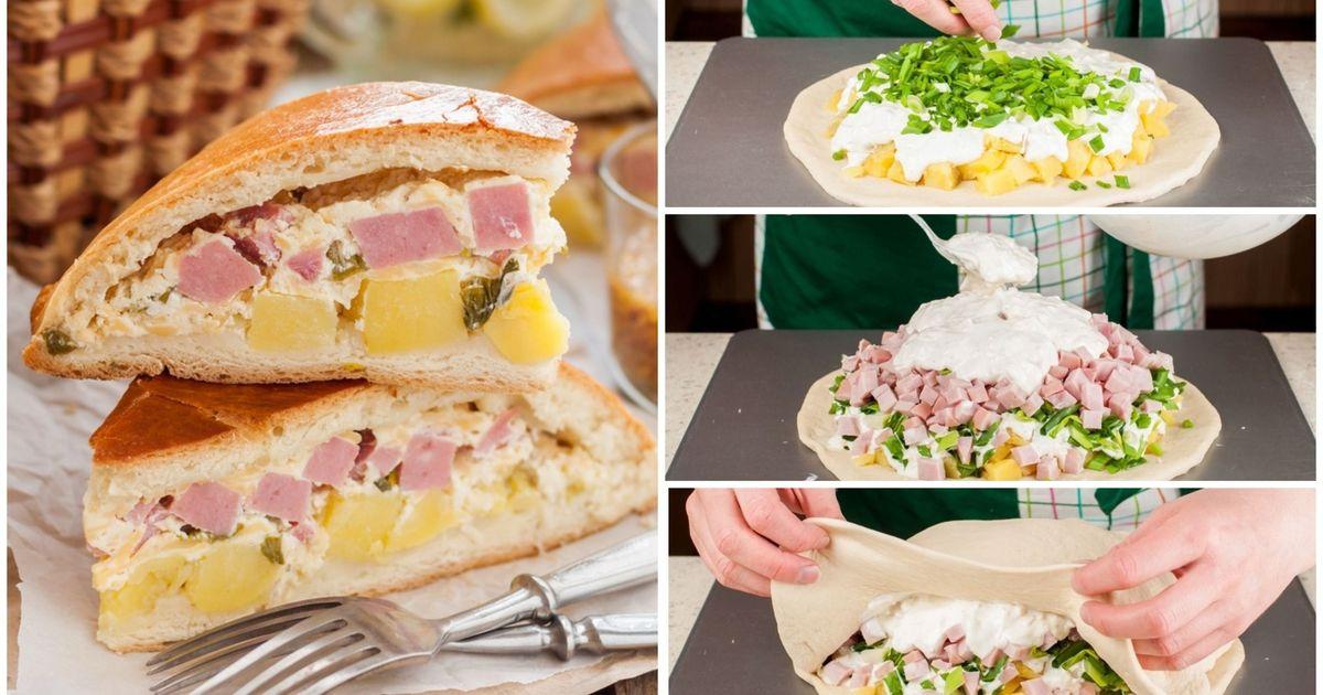 Фото Пирог с ветчиной  и картофелем для пикника: пошаговые фото