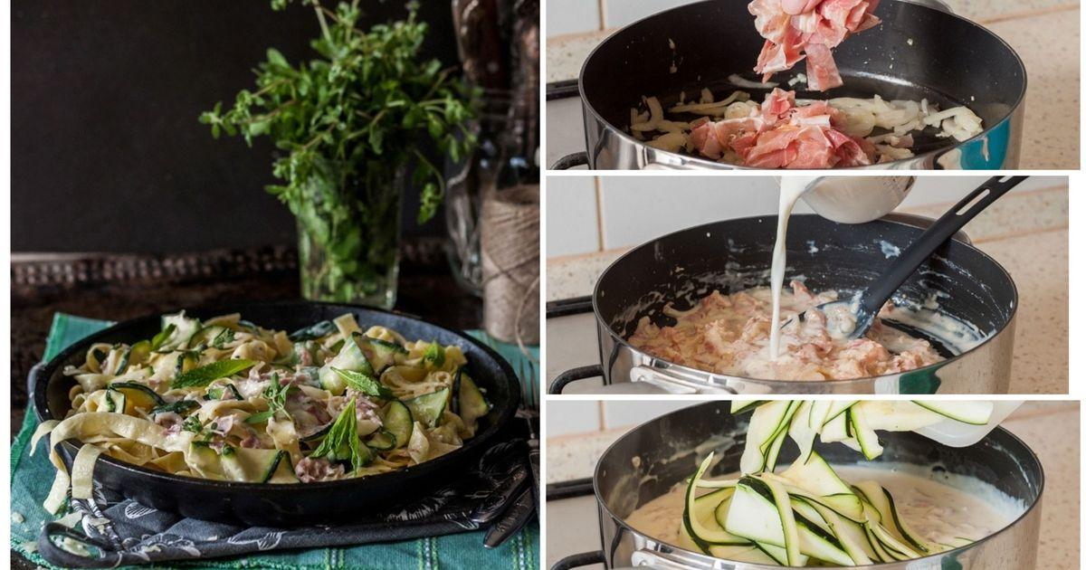 Фото Паста в сливочном соусе с беконом и цукини: пошаговый фото рецепт