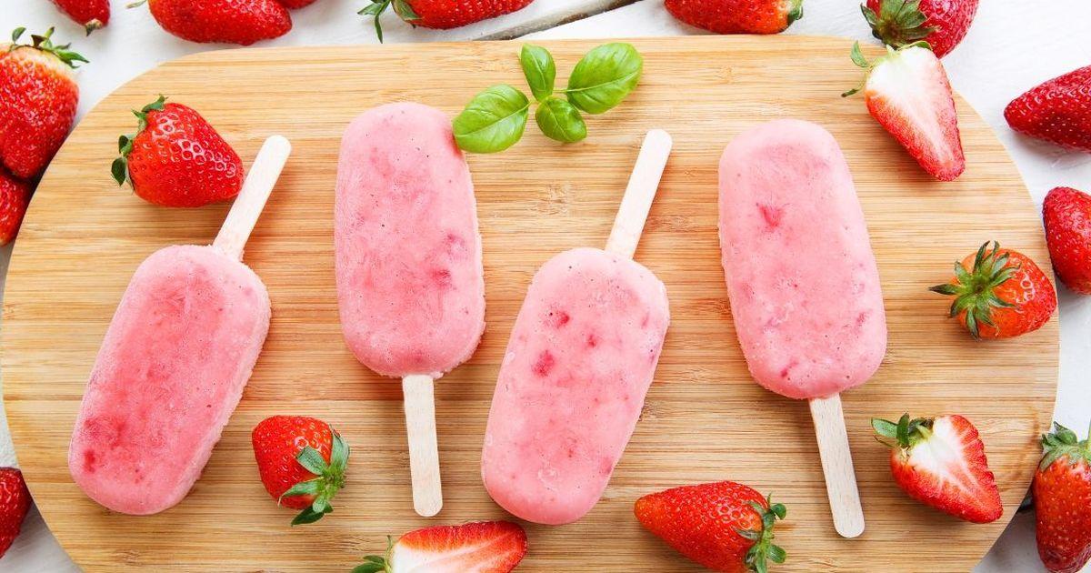 Фото Домашнее клубничное мороженое