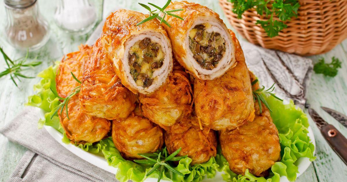 Фото Картофельные котлеты с мясной начинкой