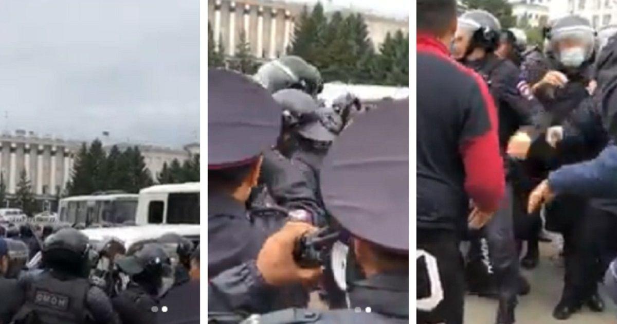 Фото Волнения в Улан-Удэ: ОМОН против шамана, идущего