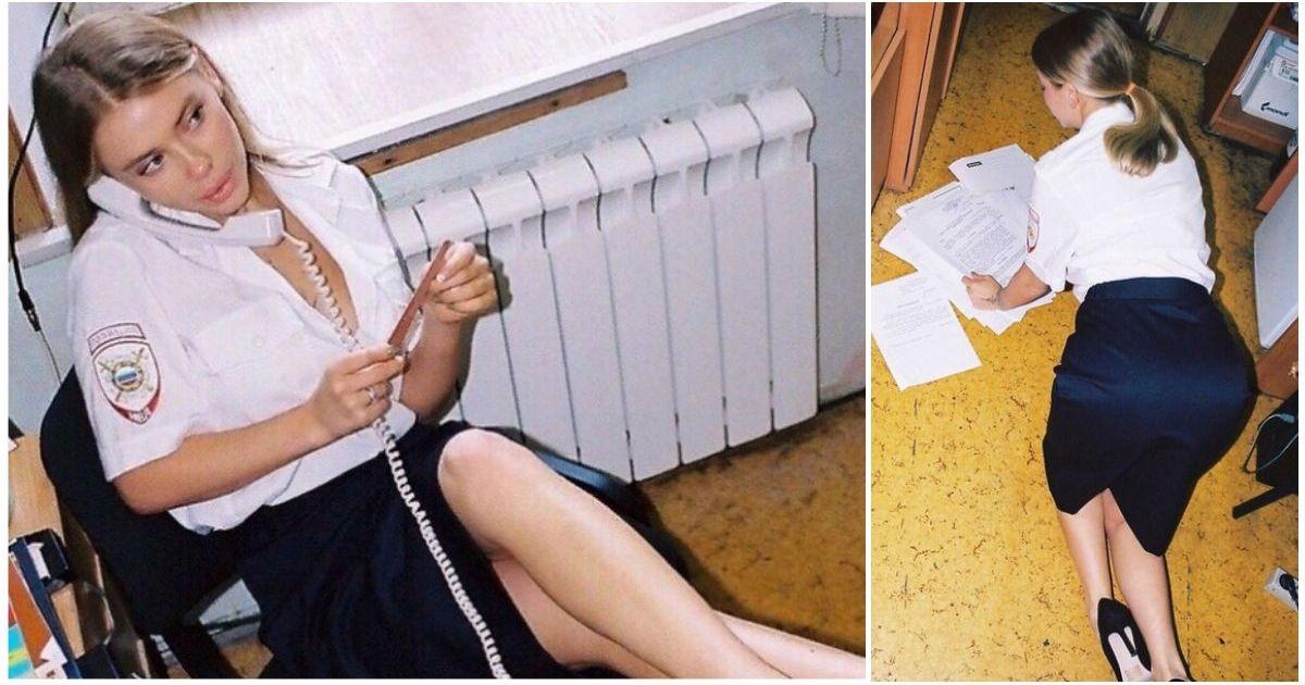 Фото Москвичка устроила пикантную фотосессию в Тверском ОВД в полицейской форме