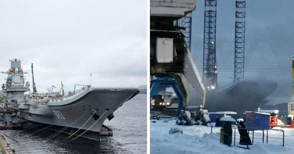Фото В Мурманске загорелся авианесущий крейсер