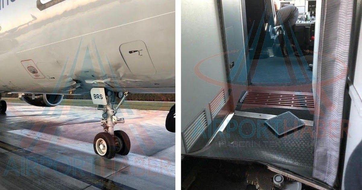 Фото A321 из Москвы жестко сел в турецкой Анталье: стойка шасси вошла в салон