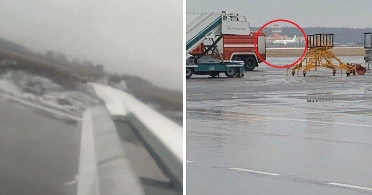 Фото Пассажир снял посадку самолета на недостроенную полосу в Домодедово