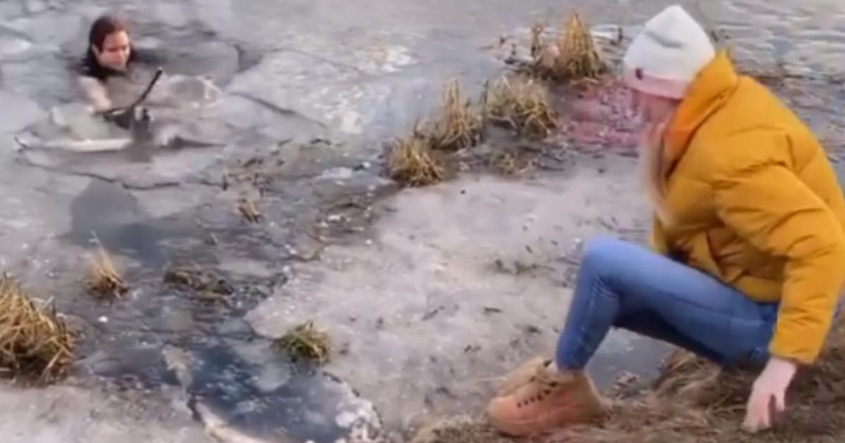 Фото Мать троих детей прыгнула в ледяной пруд, чтобы спасти собаку в Мытищах