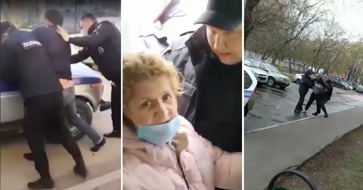 Фото Скрутили пенсионерку. Как полицейские задерживают нарушителей изоляции