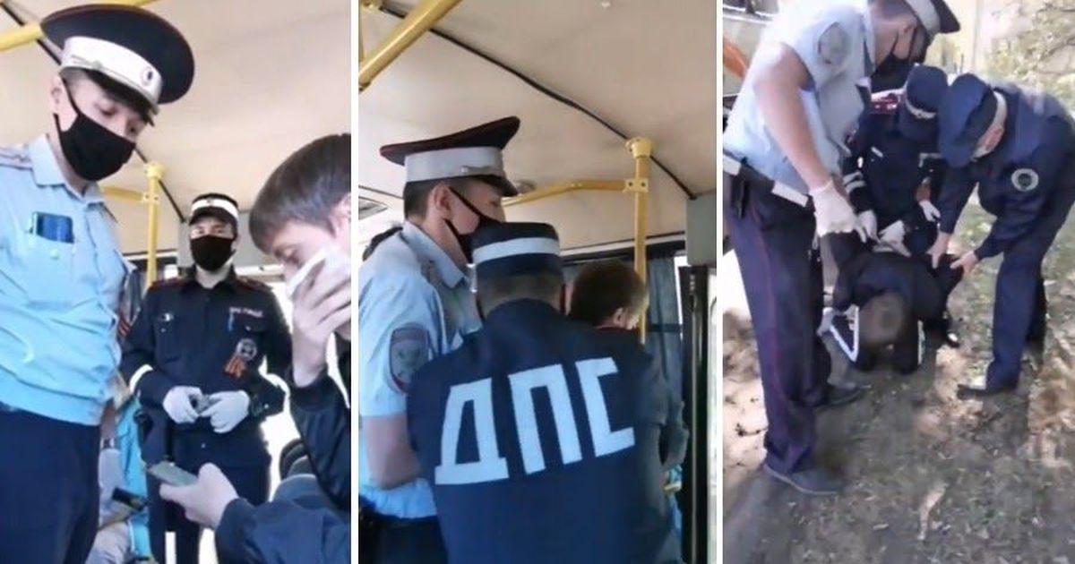 Фото Особо опасен: полиция скрутила пассажира с салфеткой вместо маски