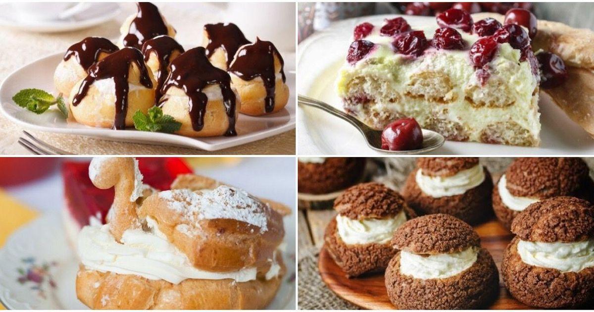 Фото Подборка вкусных десертов с кремовой начинкой