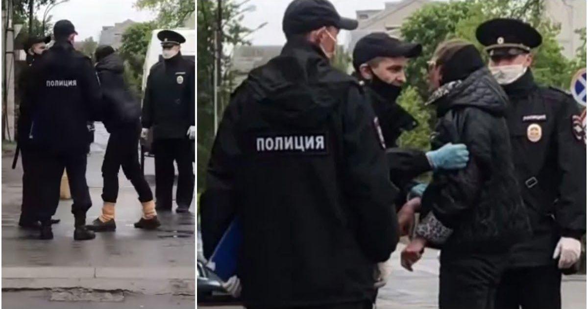 Фото Полиция силой задержала пенсионерку, которая пришла на рынок без маски