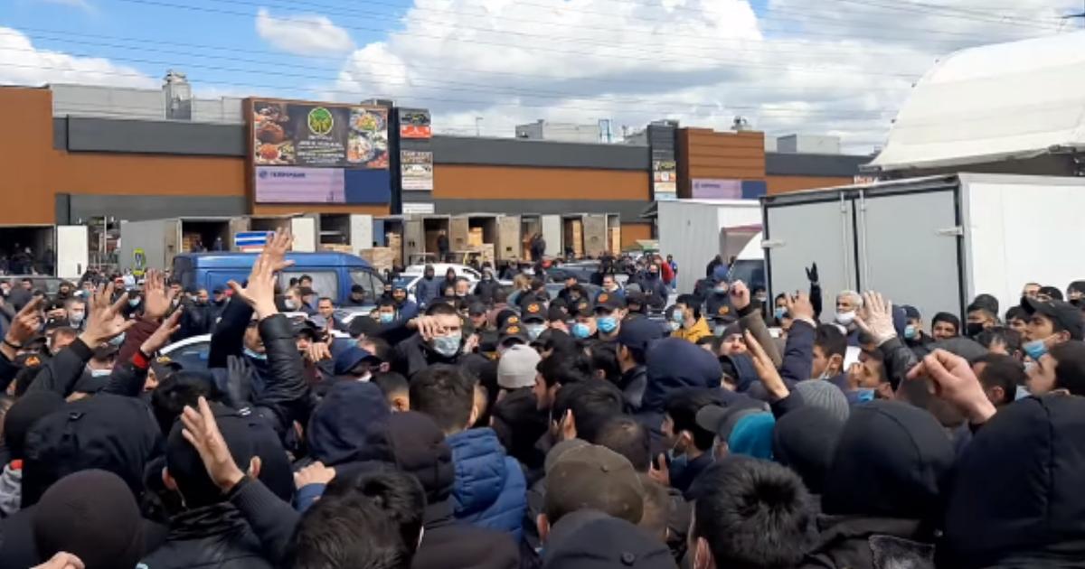 Фото Бунт в Москве: у рынка «Фуд Сити» прошел массовый протест