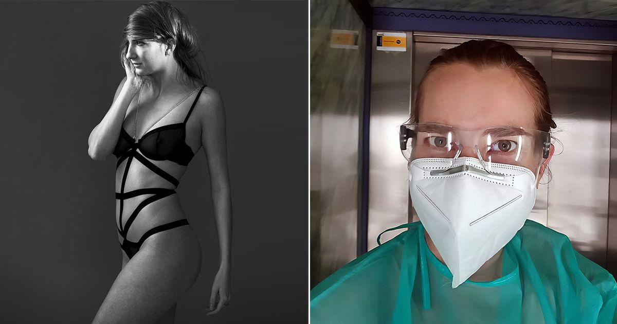 Фото Долг зовет. Эротическая модель ушла в медсестры на время пандемии